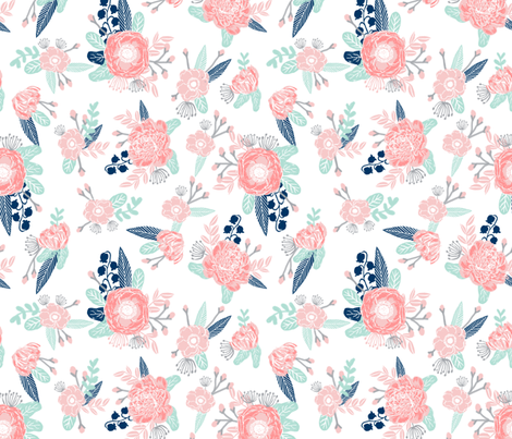 Florals flower baby girl fabric baby nursery girls fabric for Cute baby fabric prints