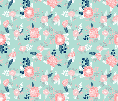 pink and mint florals baby girls nursery baby fabric cute fabric for girls navy blue mint and pink fabric fabric by charlottewinter on Spoonflower - custom fabric