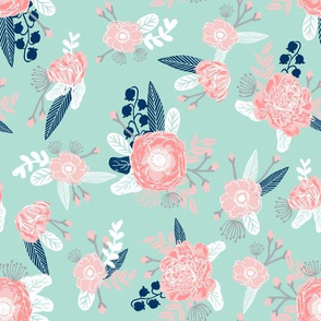 pink and mint florals baby girls nursery baby fabric cute fabric for girls navy blue mint and pink fabric