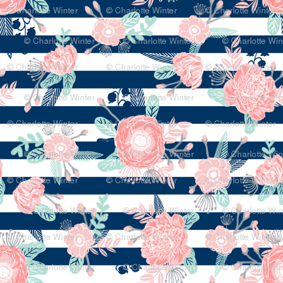 florals navy stripe girls baby girl fabric cute baby fabric baby nursery girls fabric
