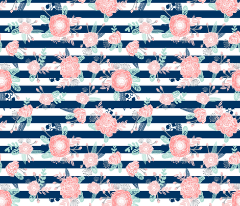florals navy stripe girls baby girl fabric cute baby fabric baby nursery girls fabric fabric by charlottewinter on Spoonflower - custom fabric