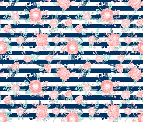 Florals navy stripe girls baby girl fabric cute baby for Cute baby fabric prints