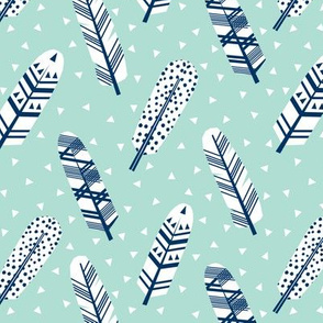 feather feathers navy and mint baby nursery cute girls feathers