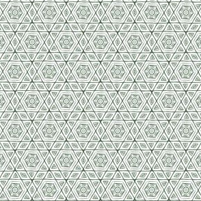 Scribbled Hexagons Dark Green on White Small 1 per inch