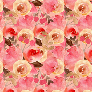watercolor floral pink layered