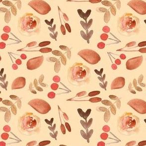 Autumn Leaves on Pale Peach