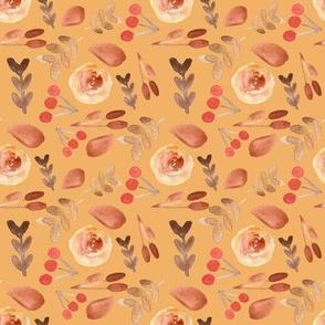 Autumn Leaves on Muted Mustard