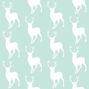 Buck in white on mint - deer woodland nursery