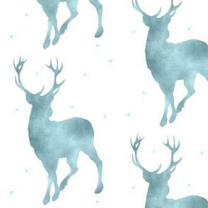 Buck in ice blue watercolor - baby boy woodland nursery - deer