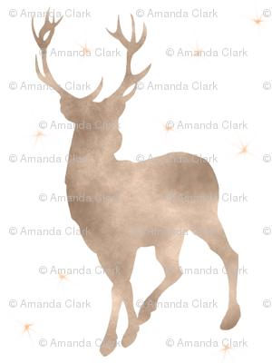 Buck in tan watercolor with stars - baby boy woodland nursery
