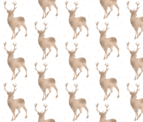 Buck in tan watercolor with stars - baby boy woodland nursery fabric by sugarpinedesign on Spoonflower - custom fabric