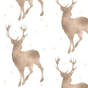 Buck in tan watercolor with stars - baby boy woodland nursery