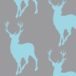 Buck in blue on grey - baby boy woodland nursery
