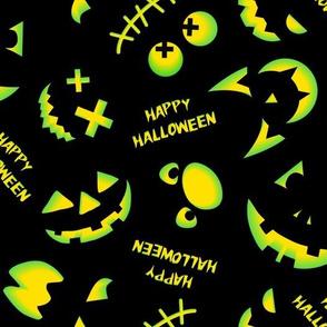 Jack O'Lantern Faces Pattern Black Green