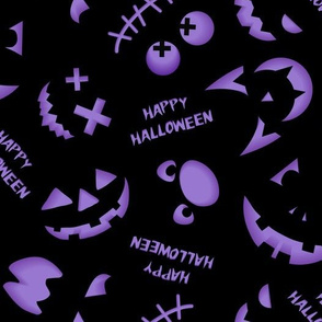 Jack O'Lantern Faces Pattern Black Purple