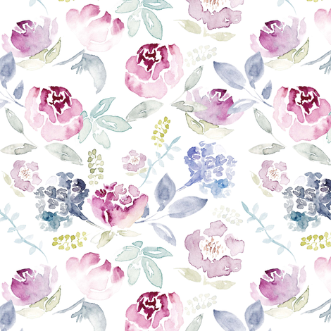 Watercolour Florals Vintage Faded Style on White MEDIUM fabric by sylviaoh on Spoonflower - custom fabric