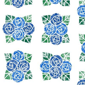 Craftsmen Round Roses Tiles White Blue