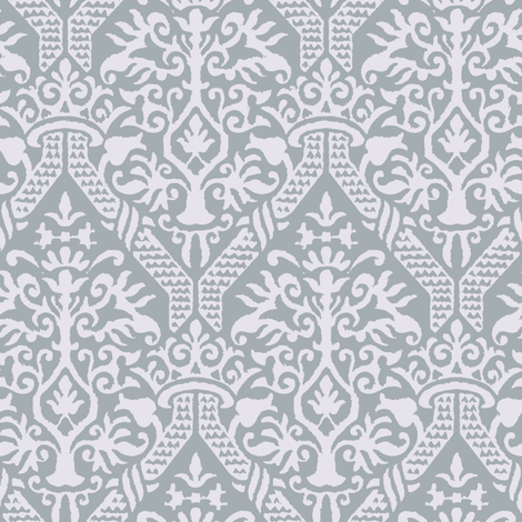 crowning damask stencil gray fabric by keweenawchris on Spoonflower - custom fabric