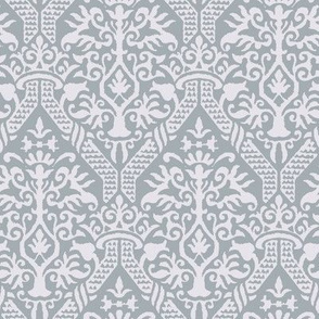 crowning damask stencil gray