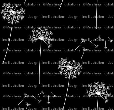 black + white blowing dandelions reversed