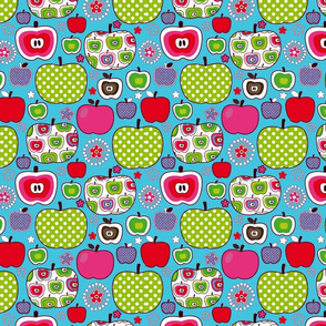Retro Apples-blue