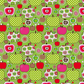 Retro Apples-green