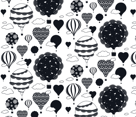 Doily Balloons (Black and White) fabric by sarahcatherinedesignsinc on Spoonflower - custom fabric