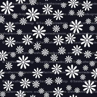 Ditsy Daisy (Black on White)
