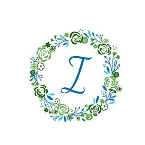 Lagoon XL  12 initial  I - shabby chic rose wreath