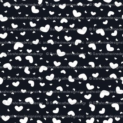 Heart Toss (White on Black)