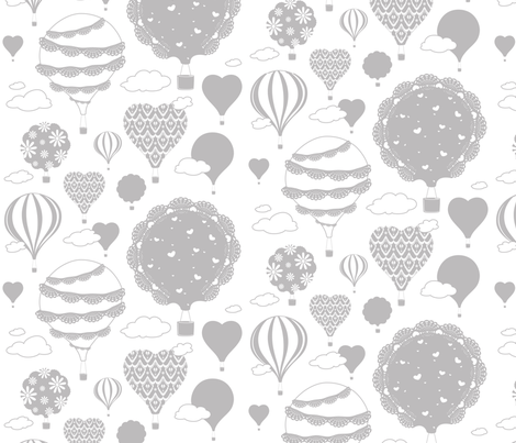 Doily Balloons (Gray and White) fabric by sarahcatherinedesignsinc on Spoonflower - custom fabric