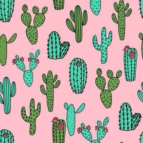cactus // flowers cacti cactus flowers fabric pink and green fabric andrea lauren fabric andrea lauren design fabrics