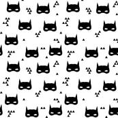 mask mini geo black and white super hero