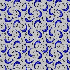 narwhals // cobalt blue and white grey narwhal fabric