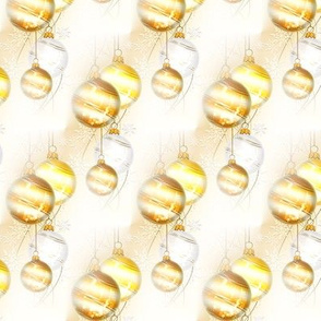 christmas baubles in gold