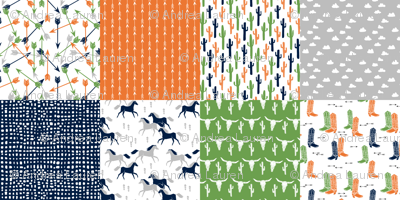 boys cheater quilt // green moss green orange navy cactus arrows horse western kids