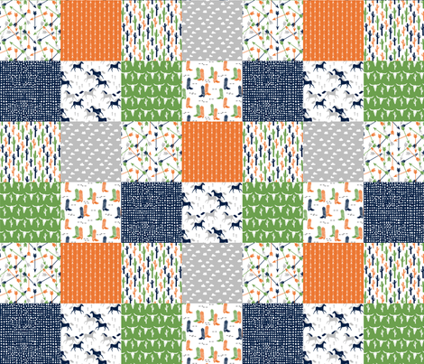 boys cheater quilt // green moss green orange navy cactus arrows horse western kids  fabric by andrea_lauren on Spoonflower - custom fabric