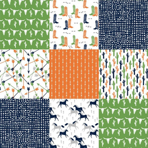 boys cheater quilt // green moss green orange navy cactus arrows horse western kids