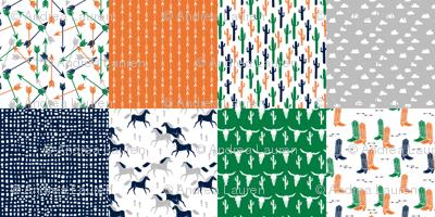 boys cheater quilt // green orange navy cactus arrows horse western kids