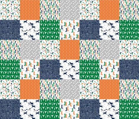Boys cheater quilt green orange navy cactus arrows for Kids horse fabric