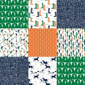 boys cheater quilt // green orange navy cactus arrows horse western kids