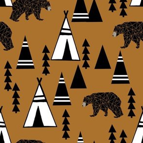 tipi forest // southwest bear triangle nursery caramel color