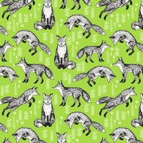 woodland fox // lime green  foxes tiny size