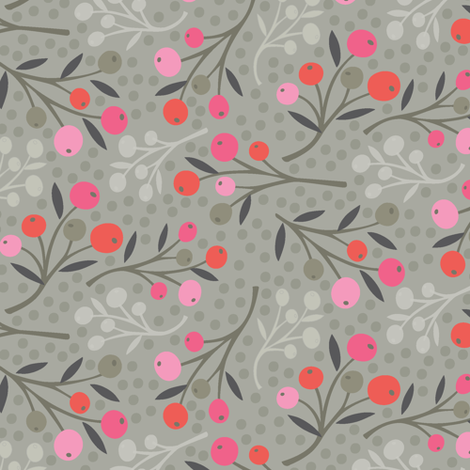 wild berries  - pink and red fabric by studiojenny on Spoonflower - custom fabric