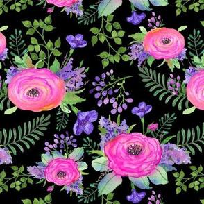 TK-Watercolor_Hot_Pink_Purple_Roses_Flower_Floral_BLACK