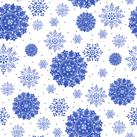 Snowflakes in watercolor fabric by lilyoake on Spoonflower - custom fabric