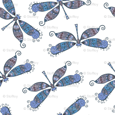 boho butterflies - blue