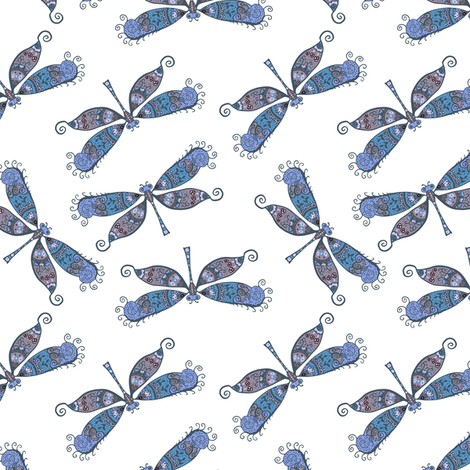 boho butterflies - blue fabric by stofftoy on Spoonflower - custom fabric