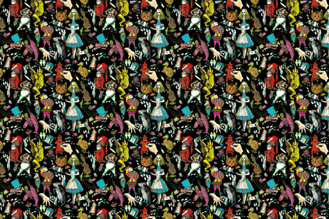 "Wonderland""s Not Pretty Black with Multi-color  fabric by hollycejeffriess on Spoonflower - custom fabric"