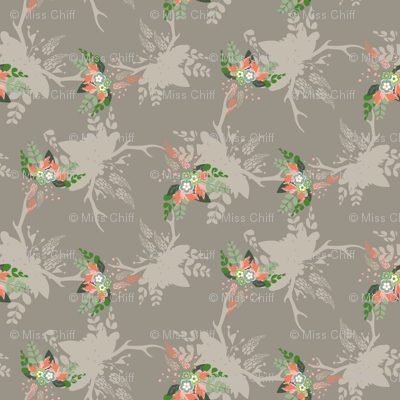 Rustic Floral Bouquet Deer Antlers Fall Leaf Leaves Taupe Peach_Miss Chiff Designs